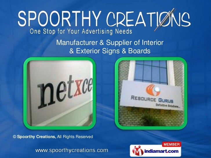 Manufacturer & Supplier of Interior                         & Exterior Signs & Boards© Spoorthy Creations, All Rights Rese...