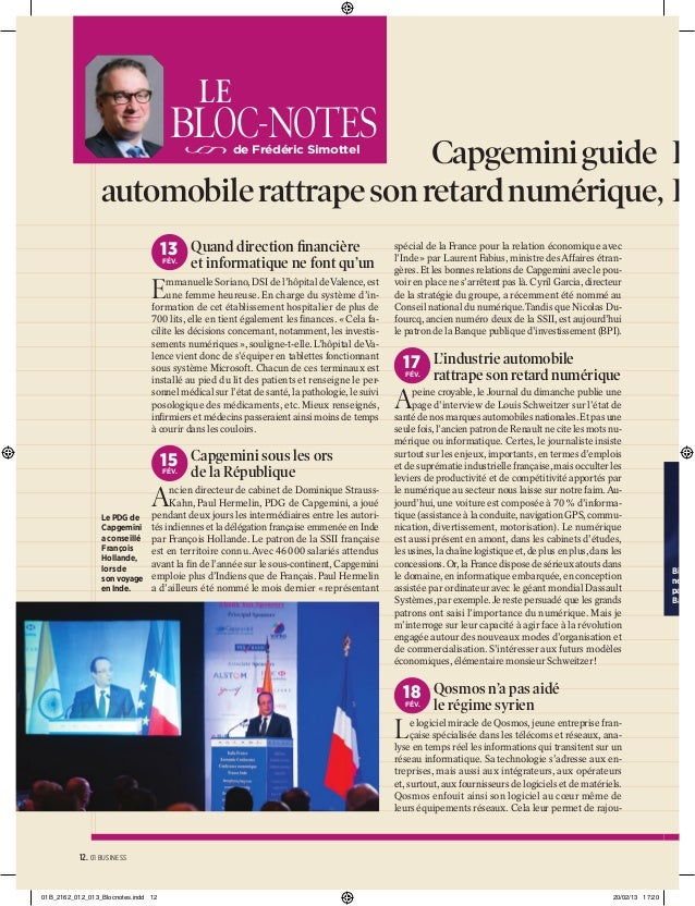 LE  BLOC-NOTES  Capgemini guide F automobile rattrape son retard numérique, B de Frédéric Simottel  13 Quand direction fina...