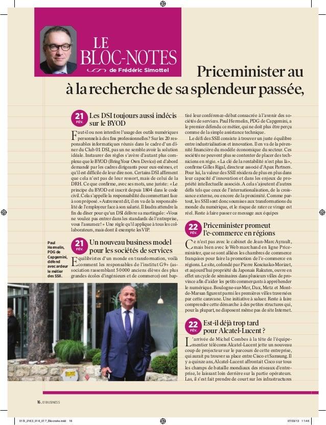 LE  BLOC-NOTES  Priceminister au se à la recherche de sa splendeur passée, G de Frédéric Simottel  21 Les DSI toujours aus...