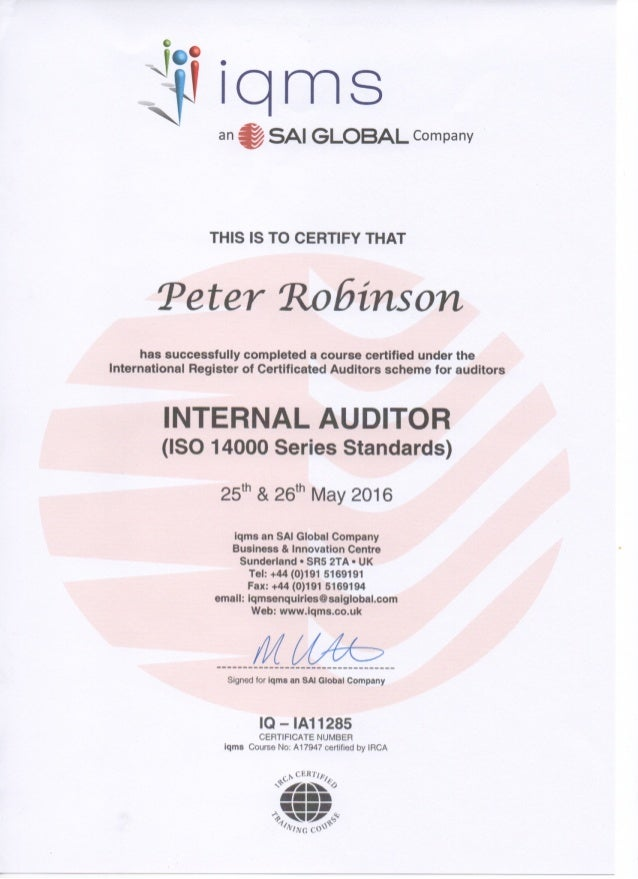 Iso14001 Internal Auditor Certification