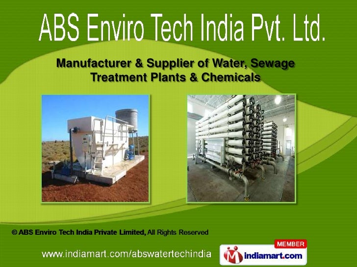 Manufacturer & Supplier of Water, Sewage     Treatment Plants & Chemicals