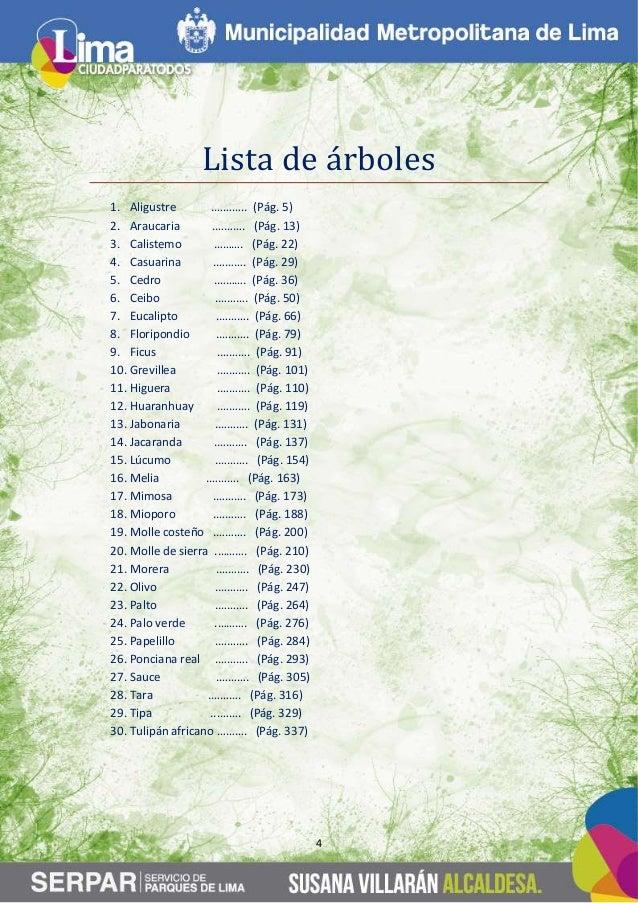guia de arboles en la ciudad de lima ForLista De Arboles Perennes