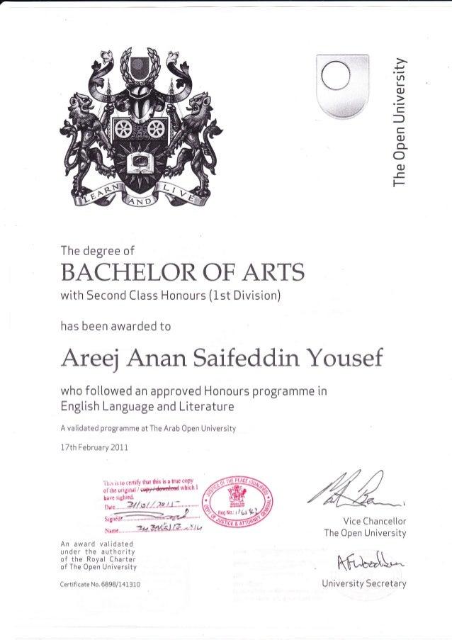 Open University Graduation Certificate