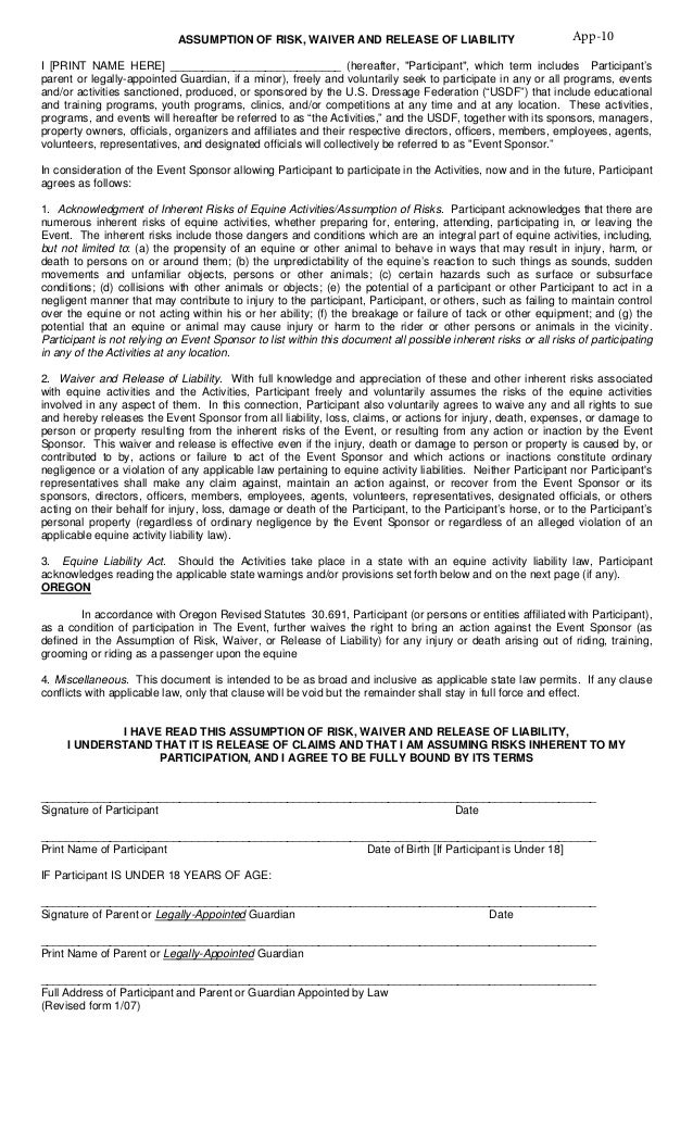 General Waiver Liability Form Doc Waiver Of Liability