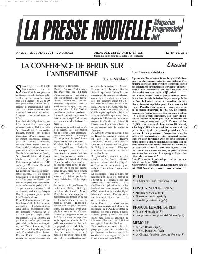 Avril/Mai 2004 n°216  6/05/04  14:15  Page 1  LA PRESSE NOUVELLE N° 216 - ARIL/MAI 2004 - 23e A N NÉE  Magazine Progressis...