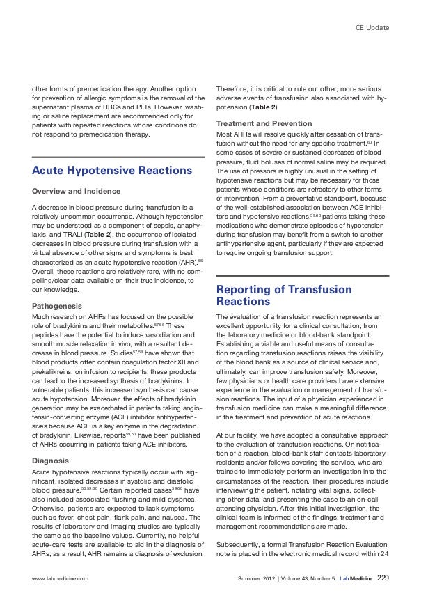 www.labmedicine.com Summer 2012 | Volume 43, Number 5 Lab Medicine 229 CE Update other forms of premedication therapy...
