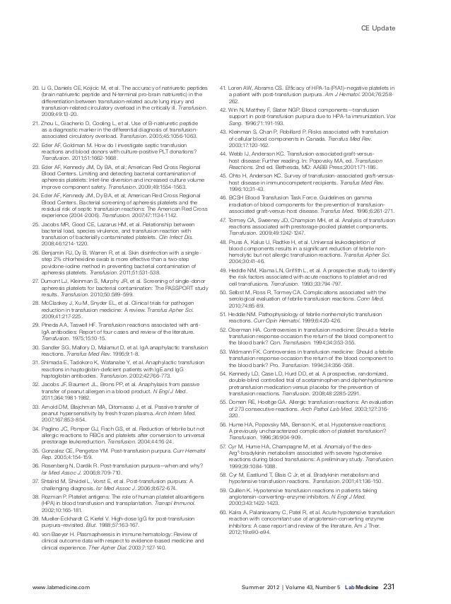 www.labmedicine.com Summer 2012 | Volume 43, Number 5 Lab Medicine 231 CE Update 20. Li G, Daniels CE, Kojicic M, et ...