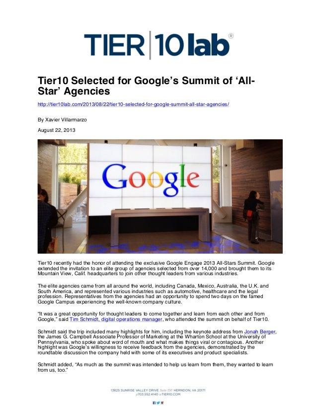 Tier10 Selected for Google's Summit of 'AllStar' Agencies http://tier10lab.com/2013/08/22/tier10-selected-for-google-summi...