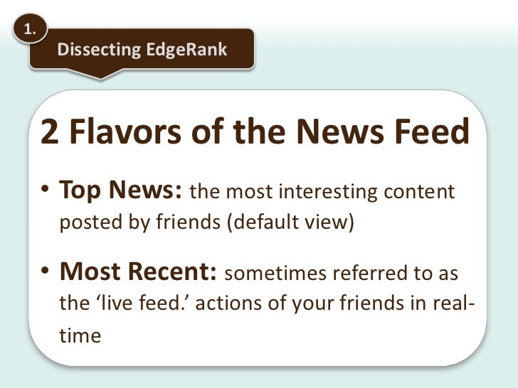 1.<br />Dissecting EdgeRank<br />EdgeRank scores each and every piece of content in your News Feed<br />