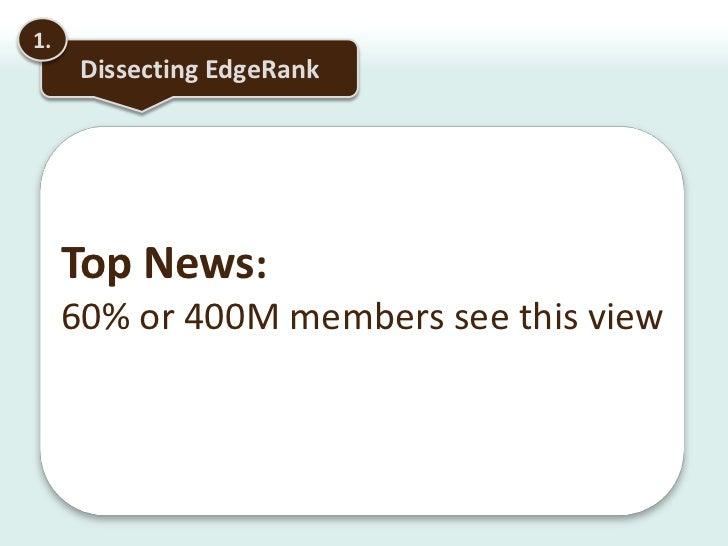 1.<br />Dissecting EdgeRank<br />High EdgeRank= visibility Low EdgeRank= darkness<br />