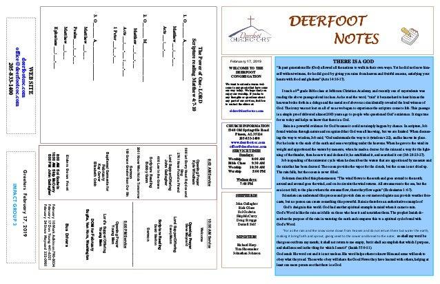February 17, 2019 GreetersFebruary17,2019 IMPACTGROUP3 DEERFOOTDEERFOOTDEERFOOTDEERFOOT NOTESNOTESNOTESNOTES WELCOME TO TH...