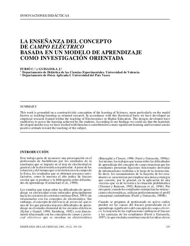 INNOVACIONES DIDÁCTICAS ENSEÑANZA DE LAS CIENCIAS, 2001, 19 (2), 319-334 319 LA ENSEÑANZA DEL CONCEPTO DE CAMPO ELÉCTRICO ...