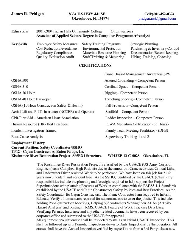 james (rick) pridgen safety resume june 2015