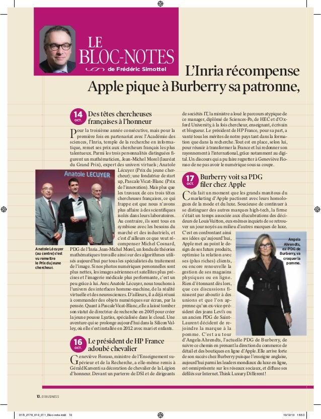 LE  BLOC-NOTES  L'Inria récompense le Apple pique à Burberry sa patronne, l' de Frédéric Simottel  14 Des têtes chercheuse...