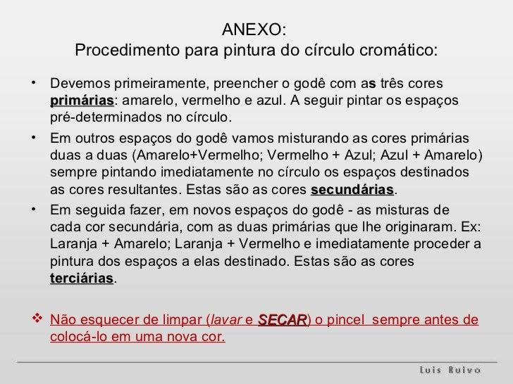ANEXO:  Procedimento para pintura do círculo cromático: <ul><li>Devemos primeiramente, preencher o godê com a s  três core...