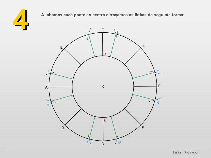 Alinhamos cada ponto ao centro e traçamos as linhas da seguinte forma: 4 A B F G H E D C M L J I O N P Q R S
