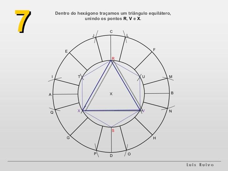Dentro do hexágono traçamos um triângulo equilátero, unindo os pontos  R ,  V  e  X . 7 A B H G F E D C M L J I O N P Q S ...
