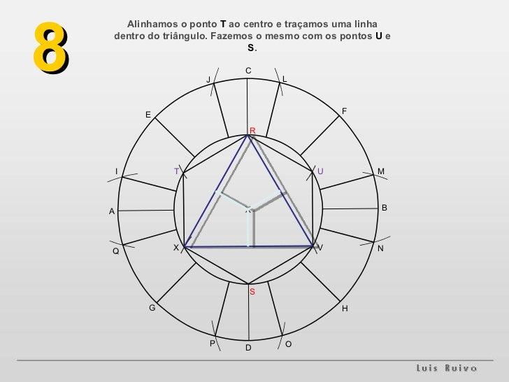 Alinhamos o ponto  T  ao centro e traçamos uma linha dentro do triângulo. Fazemos o mesmo com os pontos  U  e  S . 8 A B H...