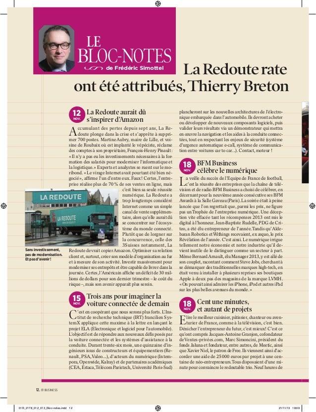 LE  BLOC-NOTES  La Redoute rate ont été attribués, Thierry Breton de Frédéric Simottel  12 La Redoute aurait dû NOV.  s'in...