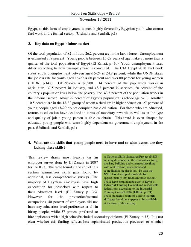 Report on Skills Gaps – Draft 3                                    November 18, 2011Egypt, as this form of employment is m...