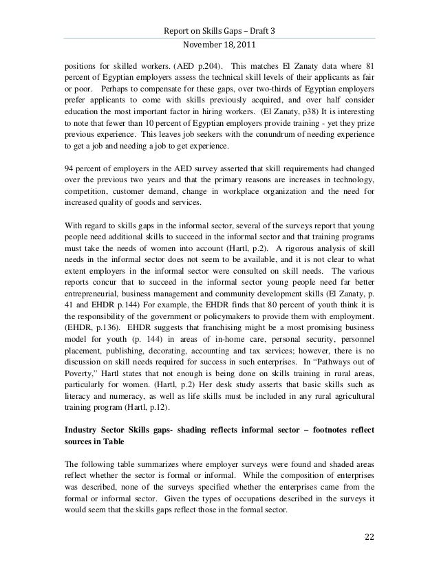 Report on Skills Gaps – Draft 3                                  November 18, 2011positions for skilled workers. (AED p.20...