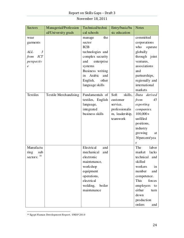 Report on Skills Gaps – Draft 3                                       November 18, 2011Sectors          Managerial/Profess...