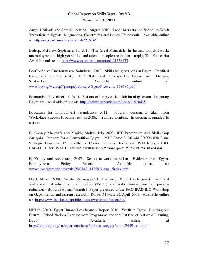 Global Report on Skills Gaps – Draft 3                                 November 18, 2011Angel-Urdinola and Semiali, Amina....