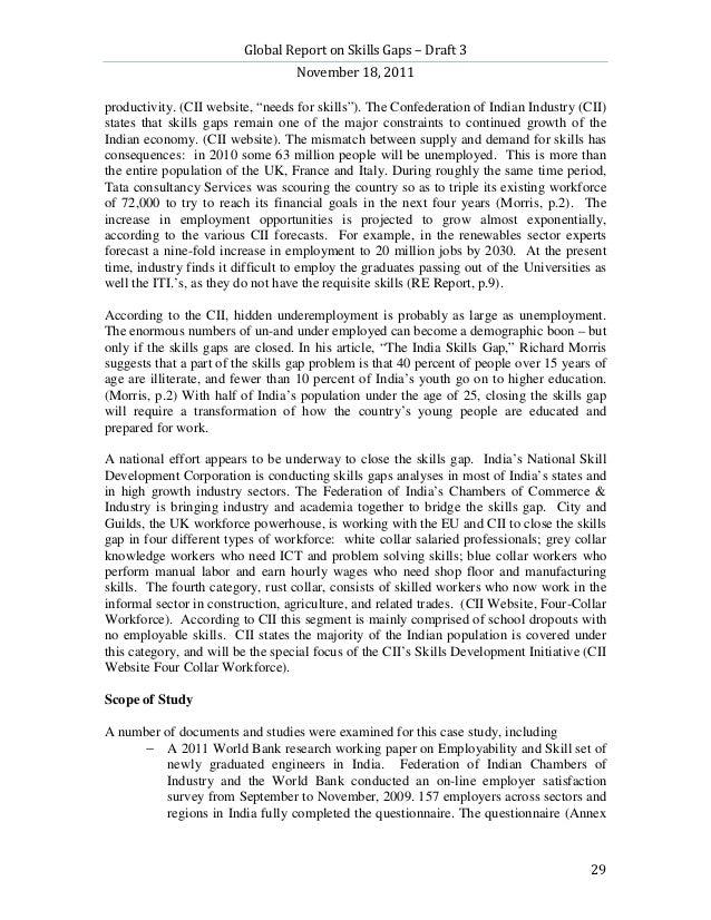 "Global Report on Skills Gaps – Draft 3                                   November 18, 2011productivity. (CII website, ""nee..."