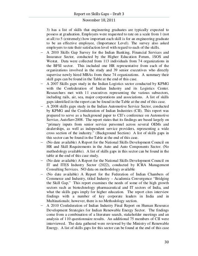 Report on Skills Gaps – Draft 3                            November 18, 2011    3) has a list of skills that engineering g...