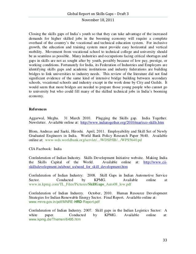 Global Report on Skills Gaps – Draft 3                                  November 18, 2011Closing the skills gaps of India'...