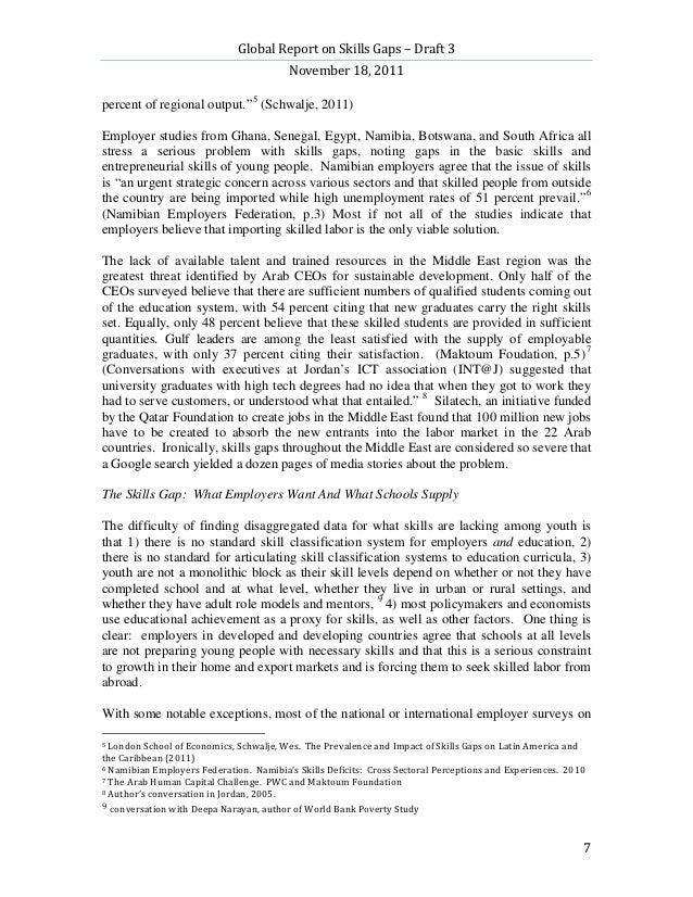 Global Report on Skills Gaps – Draft 3                                         November 18, 2011percent of regional output...