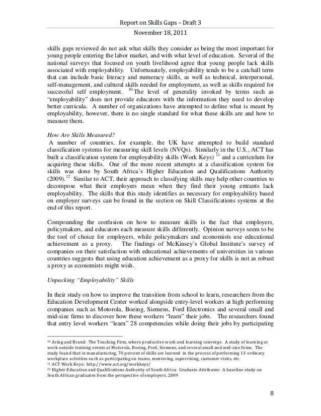 Report on Skills Gaps – Draft 3                                          November 18, 2011skills gaps reviewed do not ask ...