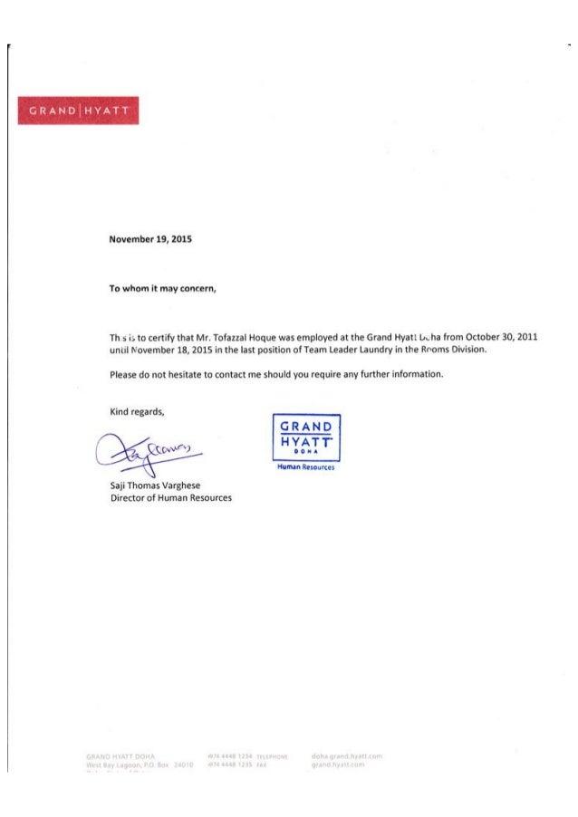 employment certificate