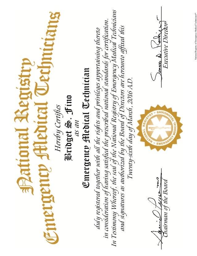 Nremt Certificate