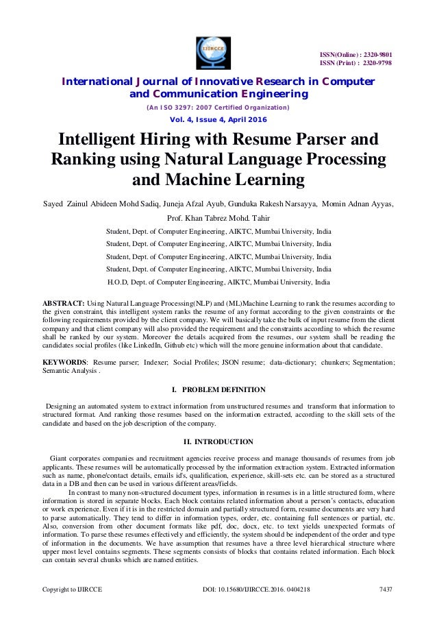 intelligent hiring with resume parser and ranking using natural langu