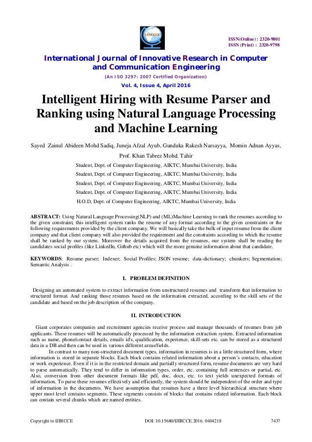 Awesome SlideShare Pertaining To Machine Learning Resume