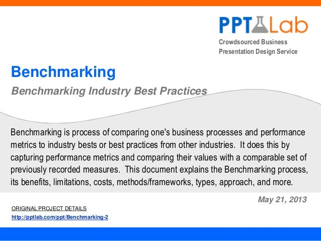 Crowdsourced Business Presentation Design Service Benchmarking Benchmarking Industry Best Practices May 21, 2013 Benchmark...
