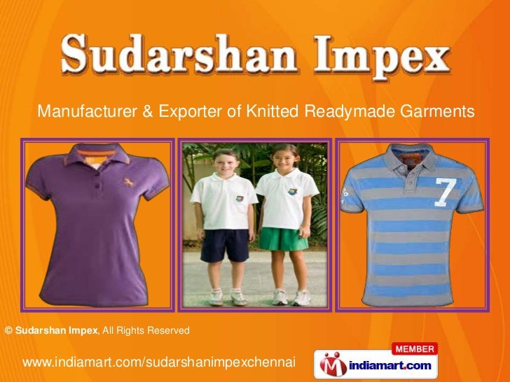 Manufacturer & Exporter of Knitted Readymade Garments<br />