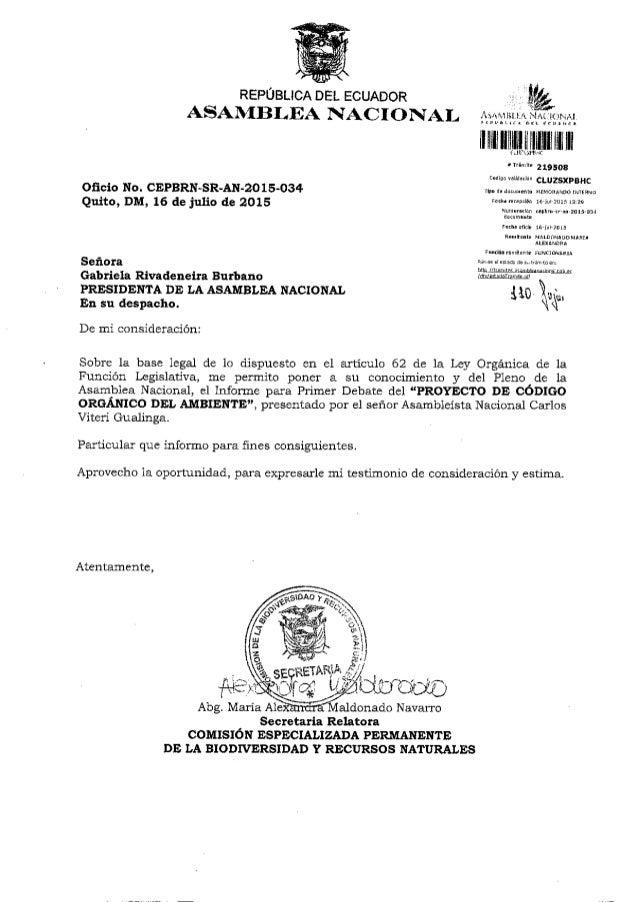 REPÚBLICA DEL ECUADOR ASANIBLEA NACIONAL  Oficio No.  CEPBRN-SR-AN-ZO 15-034 Quito,  DM,  16 de julio de 2015  Señora  Gabr...