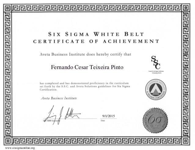 Six Sigma Certification Wh Belt Aveta
