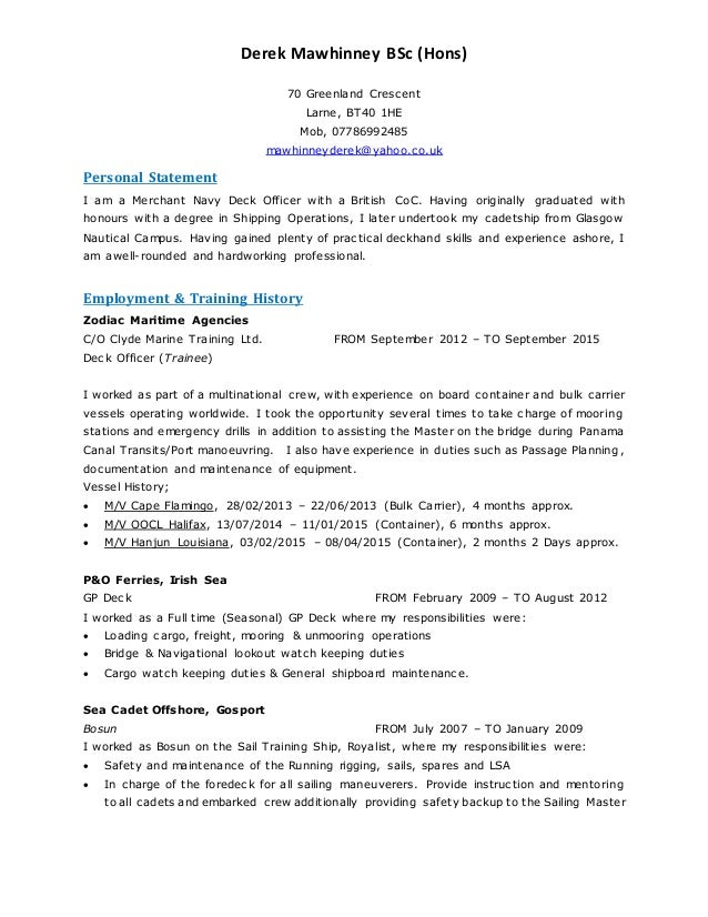 CV Derek Mawhinney Mk5