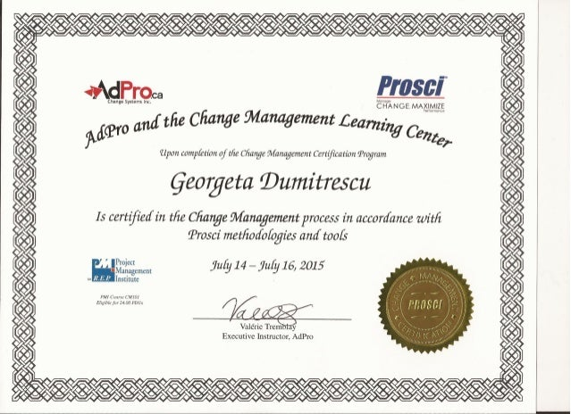 PROSCI Change Management Certification July 2015