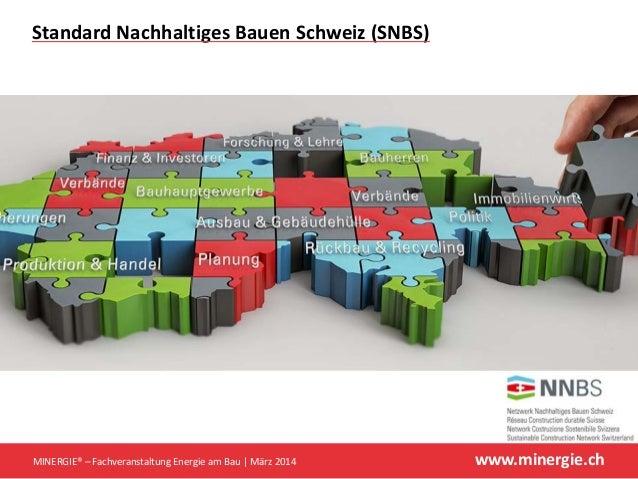 www.minergie.ch StandardNachhaltigesBauenSchweiz(SNBS) MINERGIE®– FachveranstaltungEnergieamBau März2014