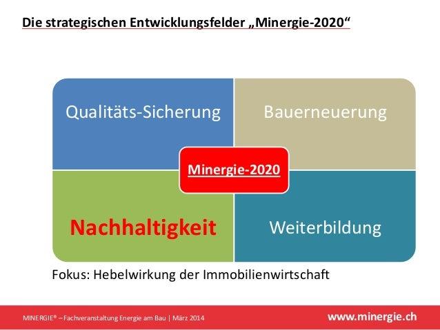 """www.minergie.ch DiestrategischenEntwicklungsfelder""""Minergie‐2020"""" Qualitäts‐Sicherung Bauerneuerung Nachhaltigkeit Wei..."""