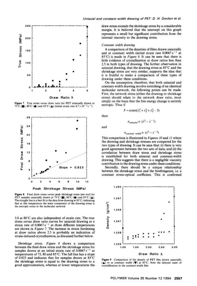 """Uniaxial and constant-width drawing of PET.""""D. H. Gordon et al. 250 - - • , . . . . . . . , • • • A t13 n 09 /1. 00 O l=. ..."""