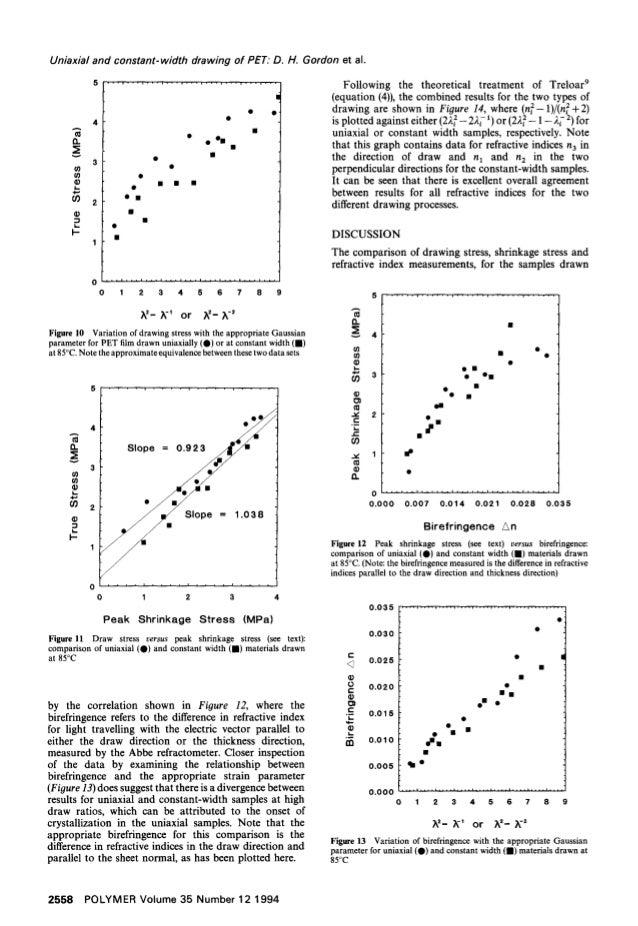 """Uniaxial and constant-width drawing of PET: D. H. Gordon et al. A v (9 (9 L. 4 • - ' , ' ' - , ' - """" , . , . , . . - , . -..."""