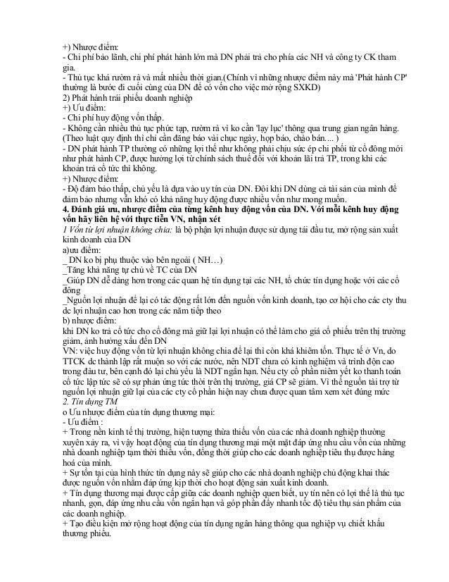 Câu hỏi bình luận Tài Chính Doanh Nghiệp Slide 3