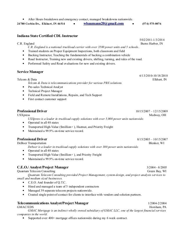 Cdl Resume Delivery Driver Combination Resume Sample 2