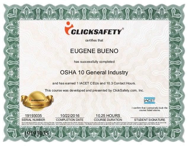 Osha 10 Certification Ico Eugene Bueno