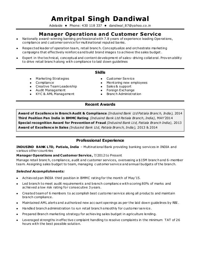 new cv Operations Manager
